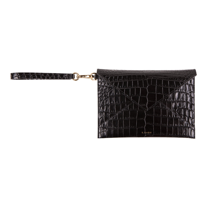 S.Joon Envelope Clutch - Black Croco Effect Leather Bag