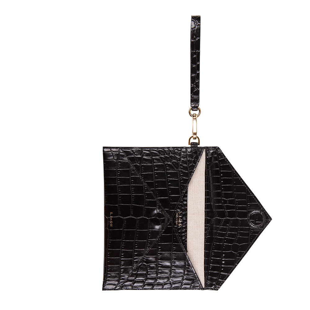 S.Joon Envelope Clutch - Black Croco