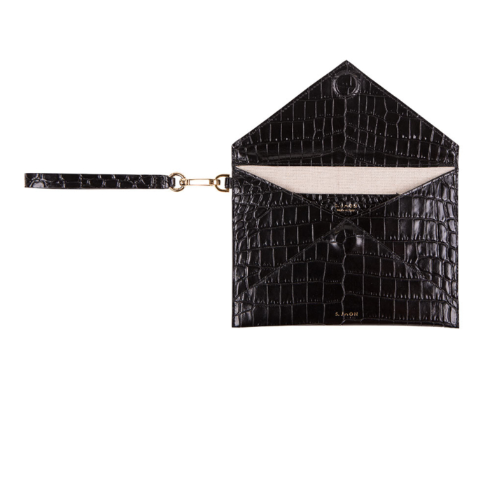 S.Joon Envelope Clutch - Black Croco Effect Leather Bag (open)