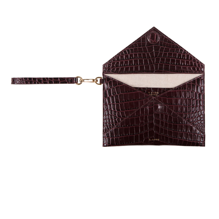 S.Joon Envelope Clutch - Bordeaux Croco Effect Leather Bag (open)