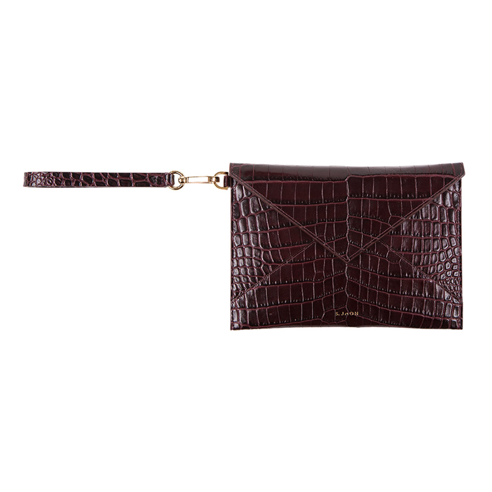 S.Joon Envelope Clutch - Bordeaux Croco Effect Leather Bag