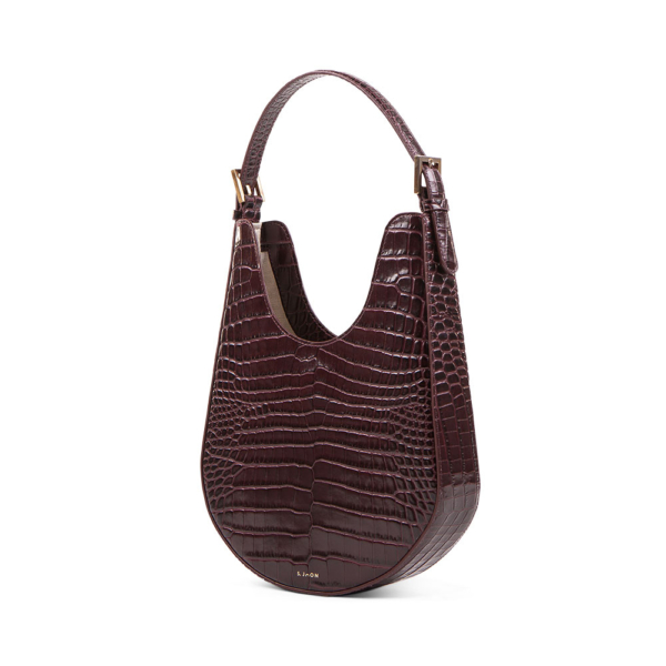S.Joon Lunar Bag - Bordeaux Croc Leather (angle)