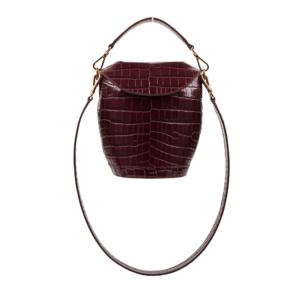 S.Joon Milk Pail - Bordeaux Croco Leather (front)