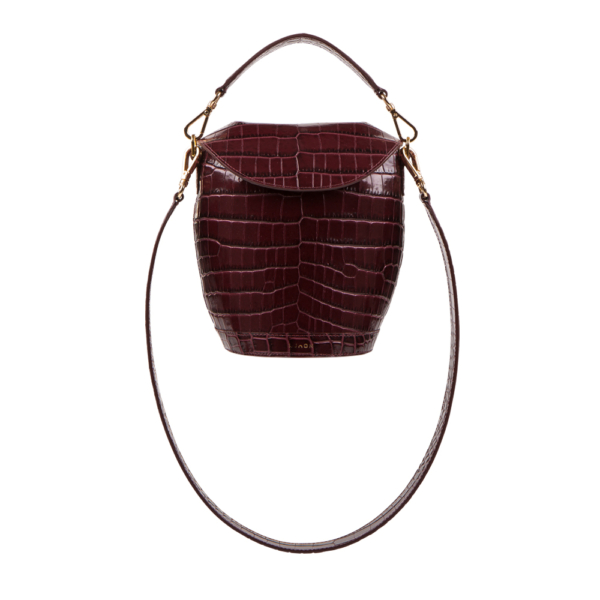 S.Joon Milk Pail - Bordeaux Croco Leather (front)