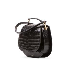 S.Joon Mini Saddle Bag - Nero Croc Leather (angle)