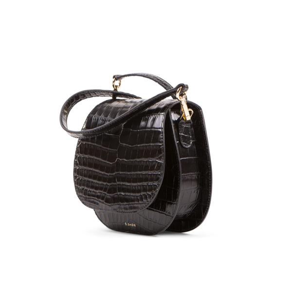 S.Joon Mini Saddle Bag - Nero Croc Leather (angle)