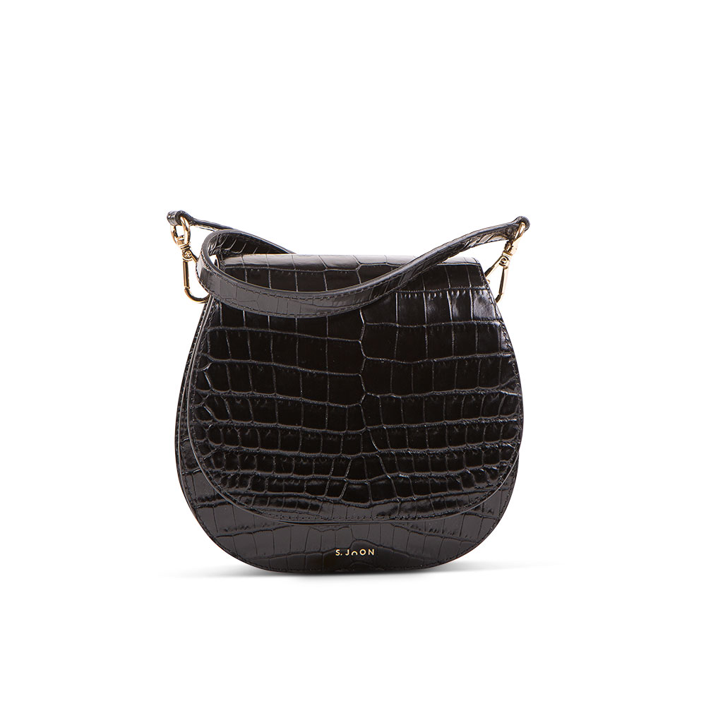 S.Joon Mini Saddle Bag - Nero Croc Leather