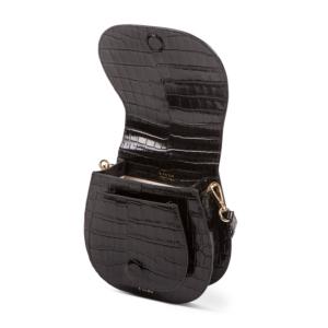 S.Joon Mini Saddle Bag - Nero Croc Leather (open)