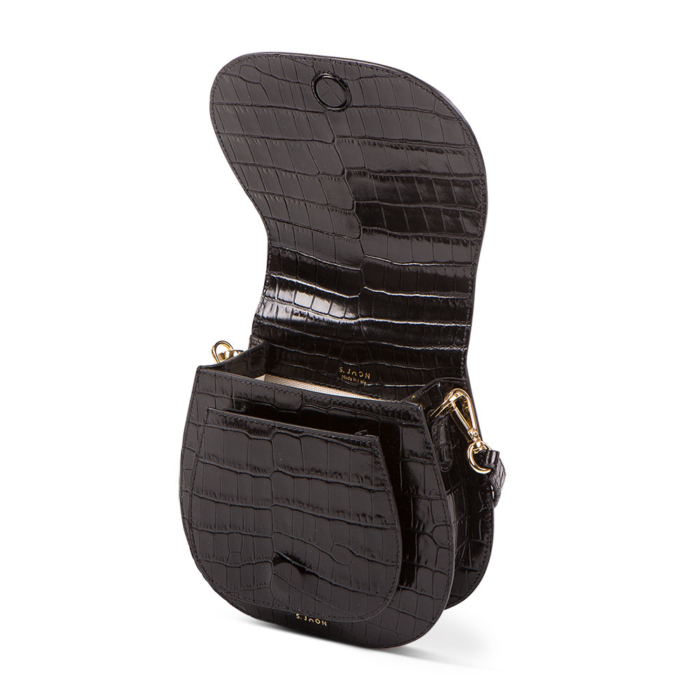 S.Joon Mini Saddle Bag - Nero Croc Leather (open)